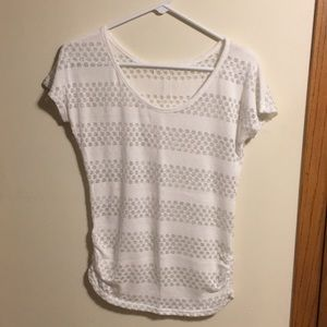 Maurices white knit dolman top with silver stripes